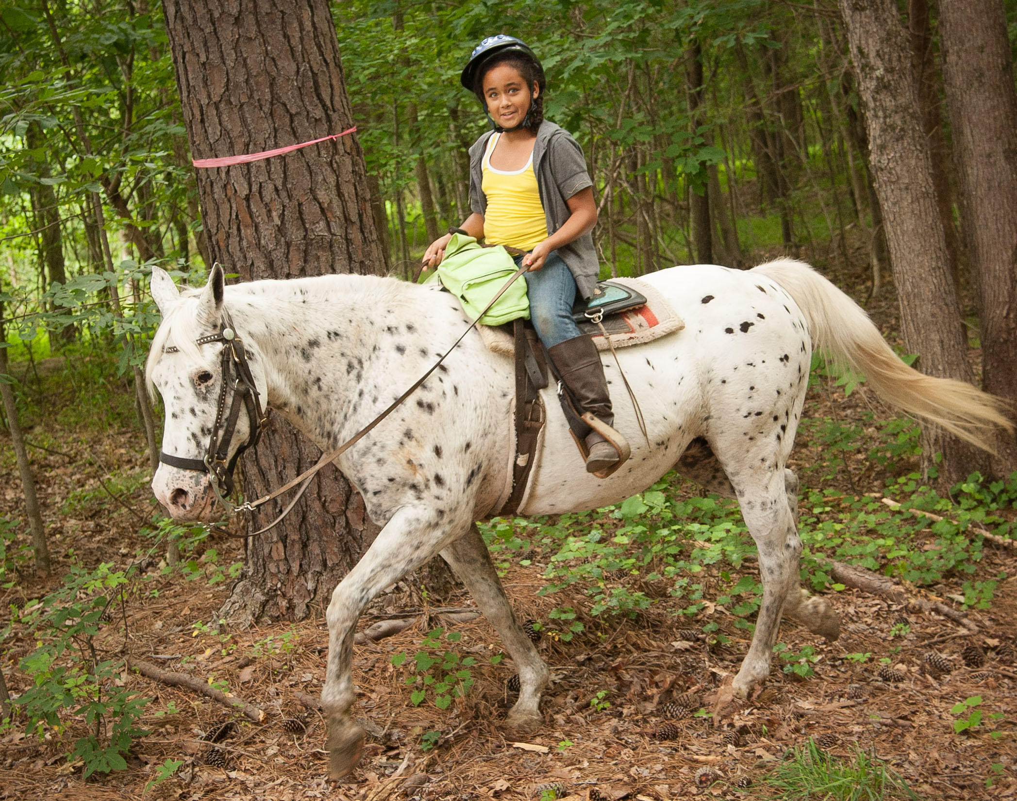 Little Girl at Horseback Riding Camp in Raleigh, NC